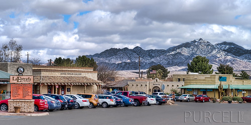 Downtown Tubac with Snow Covered Santa Ritas in the Background.