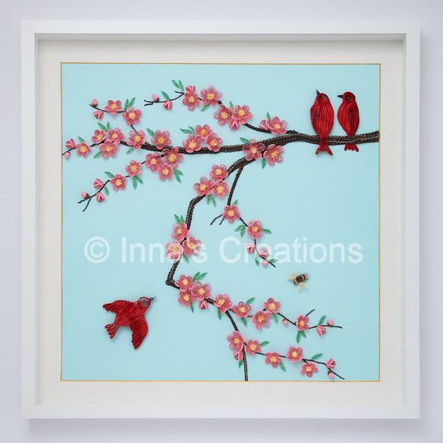 Cherry blossom & birds. Framed quilling