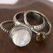 Moonstone and Citrine Stacking Ring Set RAW 7/52