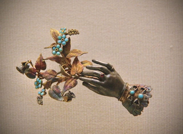Hand with flowers, English 1820-40