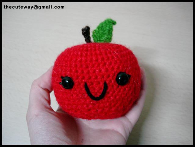 Pometa :3 version kawaii de una manzana, patron propio y ...