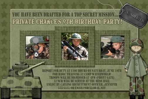 Camo Camouflage Soldier Tank Birthday Invitation