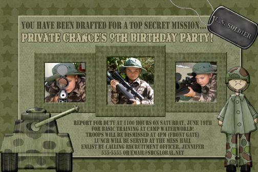 Camo Camouflage Soldier Tank Birthday Invitation