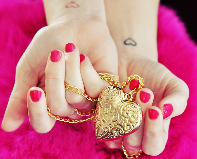 Heart tattoos gold heart necklace flickr photo sharing for Heart of gold tattoo