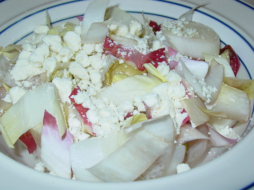 Smoked Endive Salad topped with Smoked Ritz crackers