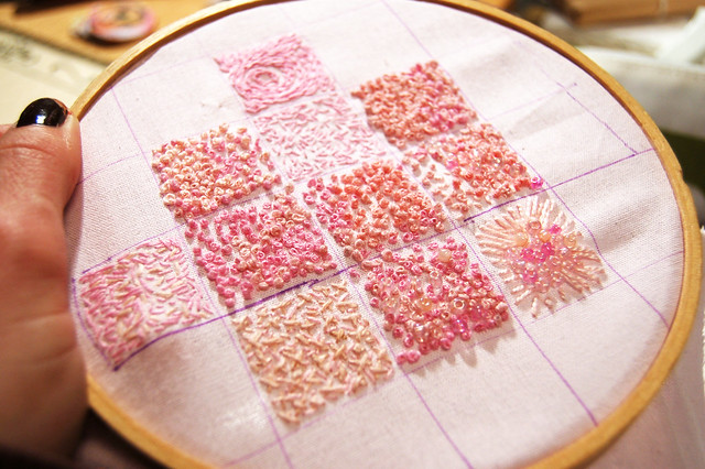 Lots of french knots in pink