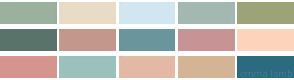 colour palette : dreamy blues and nude pinks - curated by Emma Lamb