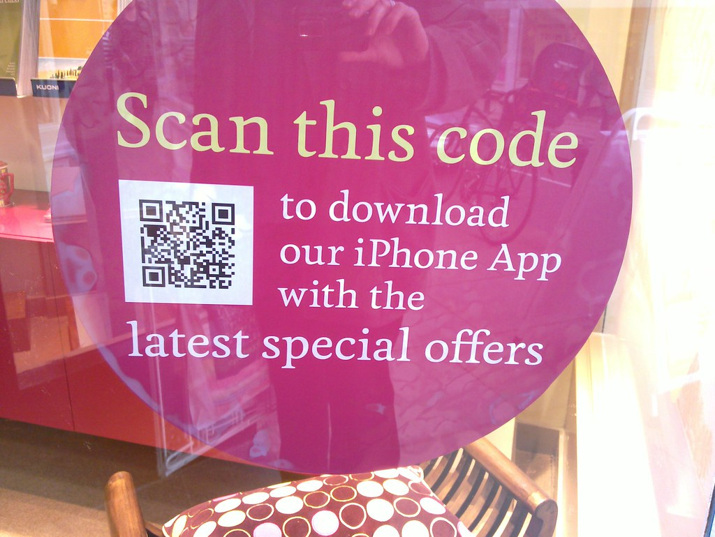 QR code in travel agent window | Nick Jones | Flickr