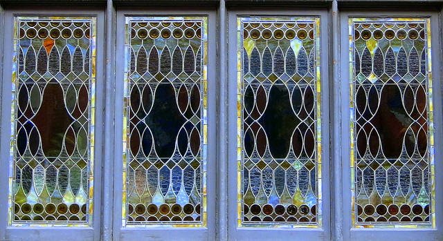 Stained glass (1915): A window on East 10th Street, Greenwich Village, NYC