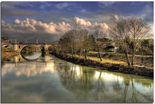 bridge rome roma river fiume ponte tevere hdr flaminio riverscape colorphotoaward nespyxel stefanoscarselli tufototureto pontemilviocorsofrancia