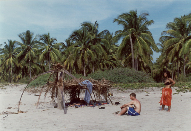 with Celia, Rob and Hans in our homemade palapa.  Mazatlan, Mexico (2002)