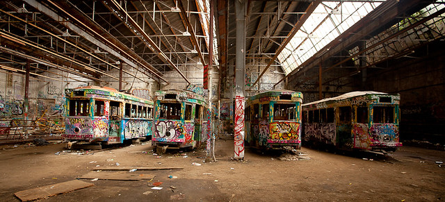glebe tram shed: trains in a row