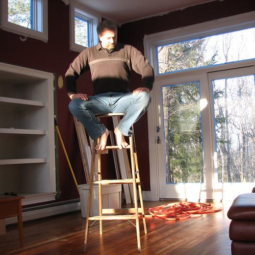 gay portrait sunlight selfportrait man beard jeans barefeet ladder saltandpepper project365 davidsullivan davidnewengland