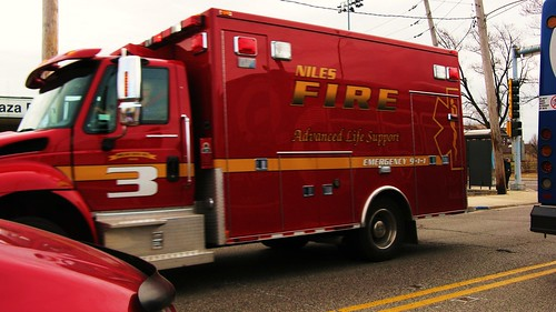 Niles Fire Department International ambulance truck responding to an emergency call. Niles Illinois USA. March 2011. by Eddie from Chicago