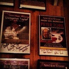 At the New Hope Winery-the wall of fame; my favorite singer's wonderful brother, Livingston Taylor and my favorite Monkee, Peter Tork!