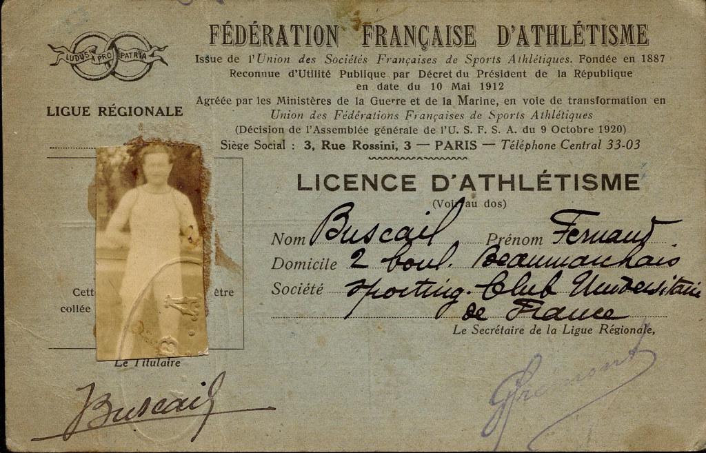 Licence de Fernand BUSCAIL - SCUF