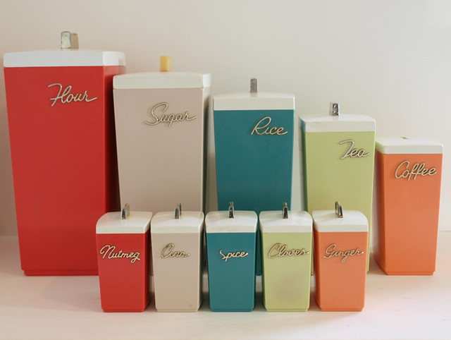 photo enamel retro kitchen canisters white blue grey tea