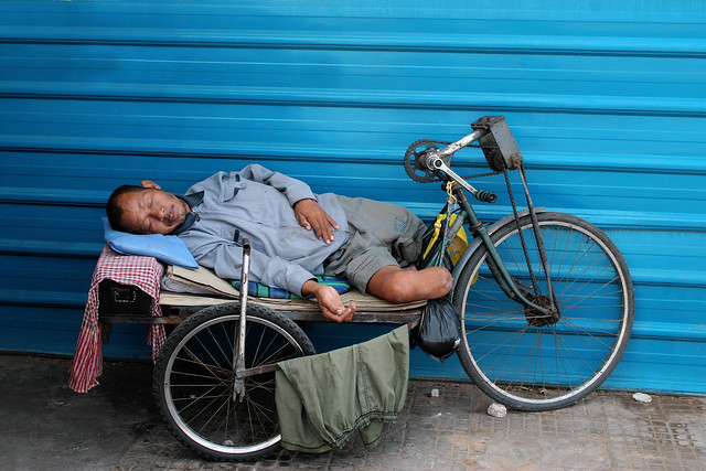 A landmine victim sleeping in Phnom Penh, Cambodia.