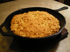 Cornbread in the cast iron pan