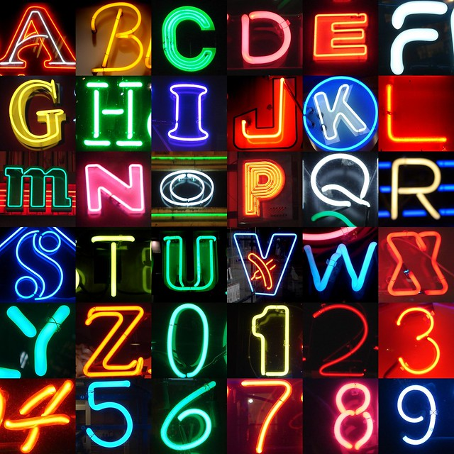 Neon alphanumerics letters and numbers from my for Large neon letters