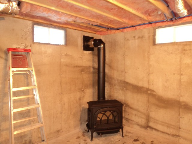 Wood Stove Installed In Basement Flickr Photo Sharing