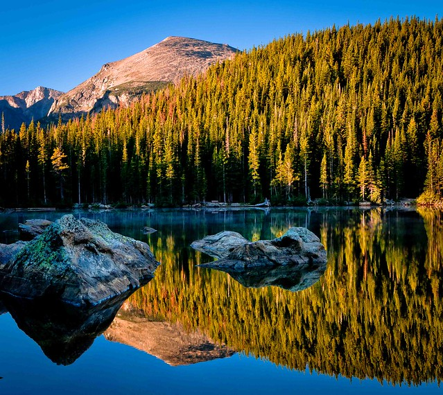 Sunrise Reflection on Bear Lake at Rocky Mountain National Park