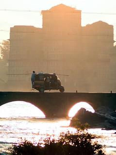 Orchha, India - Auto Rickshaw Crossing Betwa River