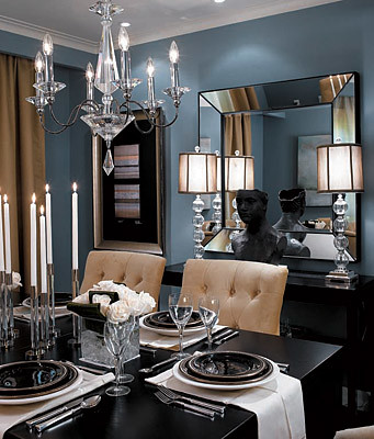 Formal Blue gray Dining Room Benjamin Moore Cloudy Sky