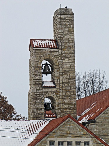 winter snow church stone bells tile kansas smalltown greeley stjohnthebaptistcatholicchurch