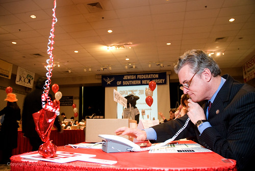Rep. Rob Andrews makes calls during Super Sunday 2011