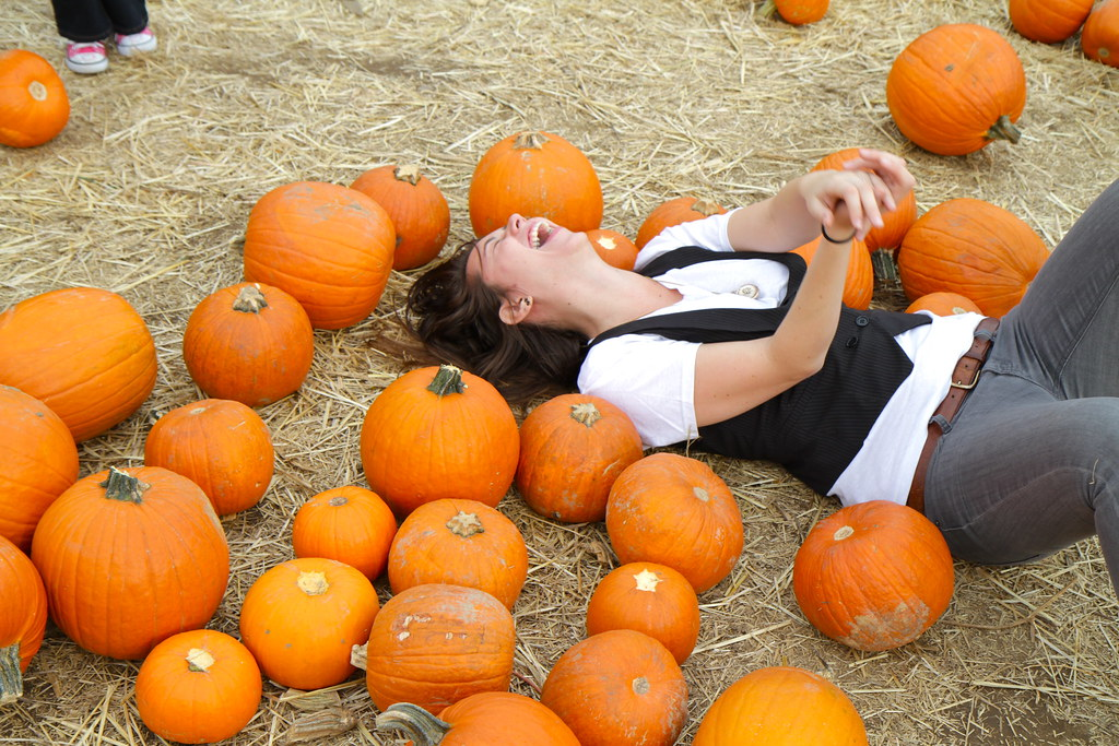 rolling around in the pumpkins