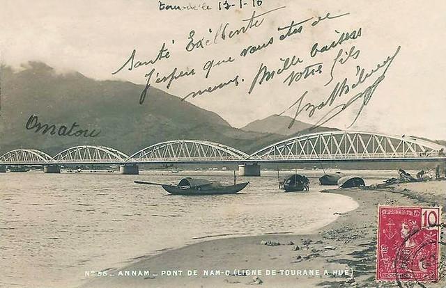 Annam . Pont de Nam-O - Ligne de Tourane à Hué