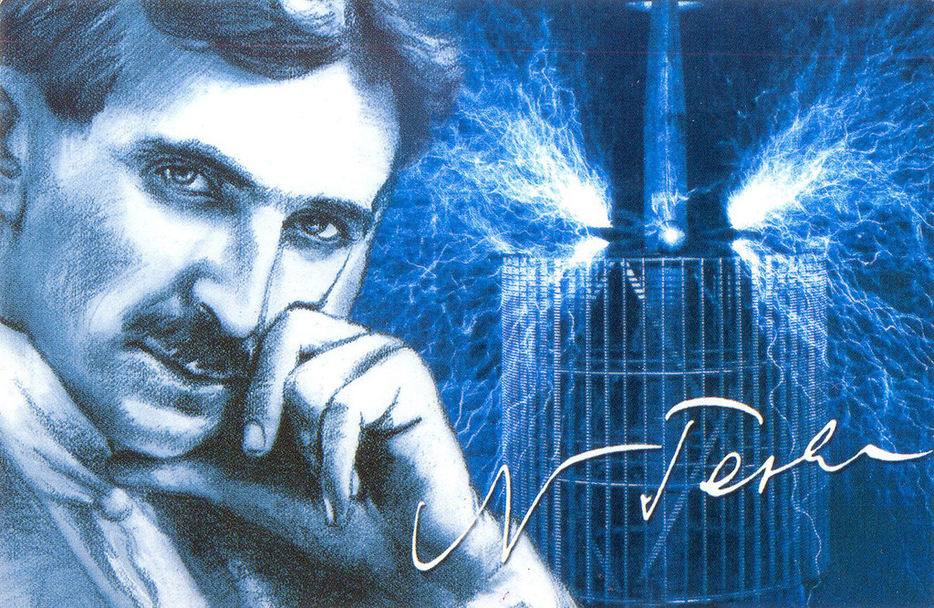 Nikola Tesla postcard (Serbia)