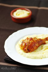 Roasted chicken, mashed cauliflower with orange and cheese