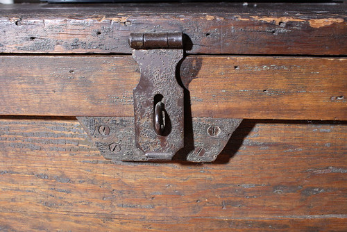 Antique distressed wood trunk SOLD