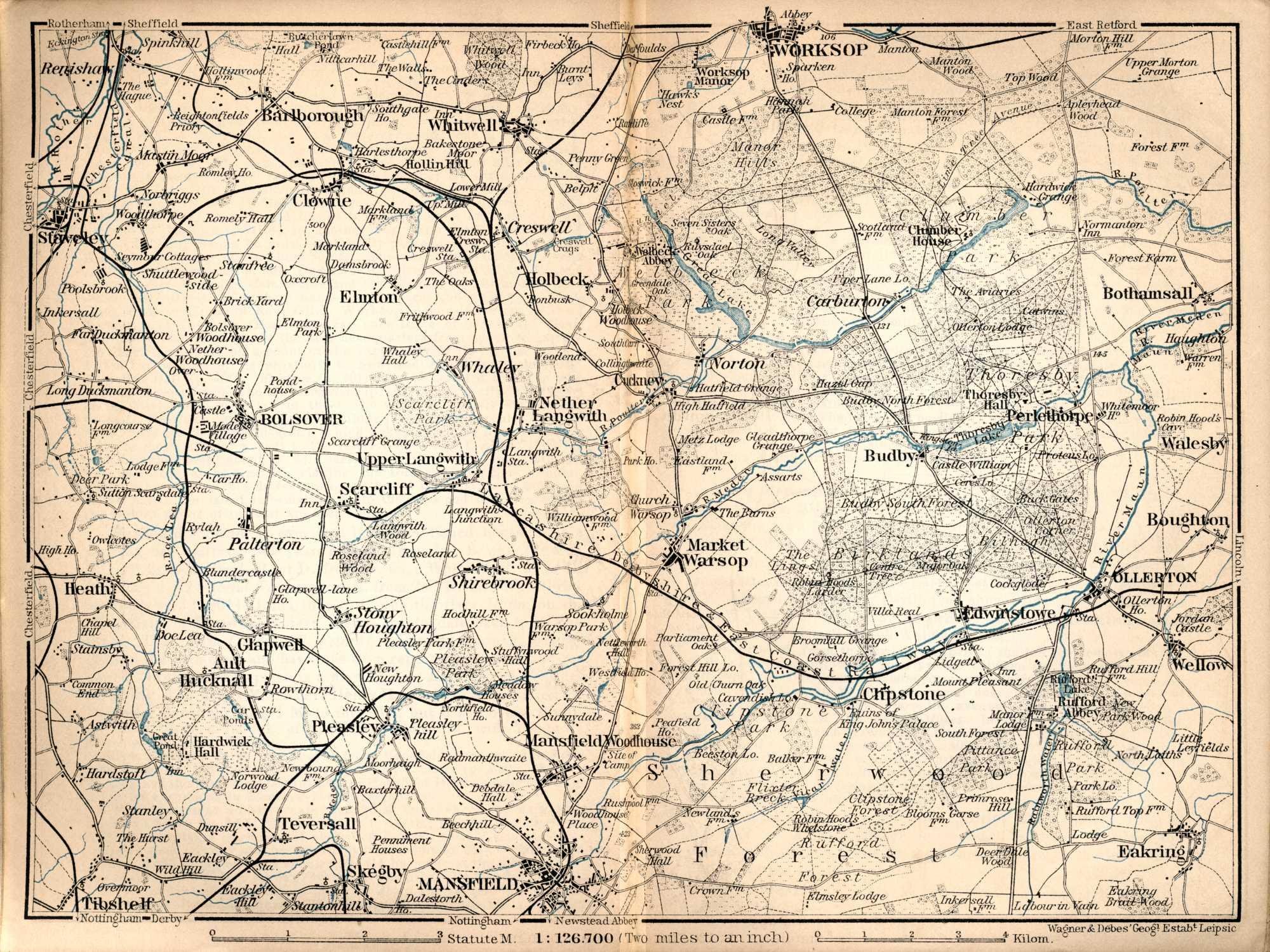 map of worksop and mansfield 1901 old maps of nottingham. Black Bedroom Furniture Sets. Home Design Ideas