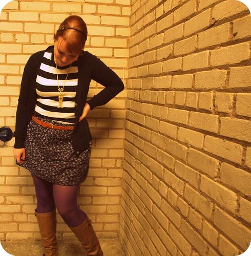 striped shirt floral skirt3