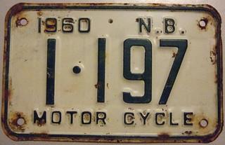 NEW BRUNSWICK, 1960 ---MOTORCYCLE LICENSE PLATE