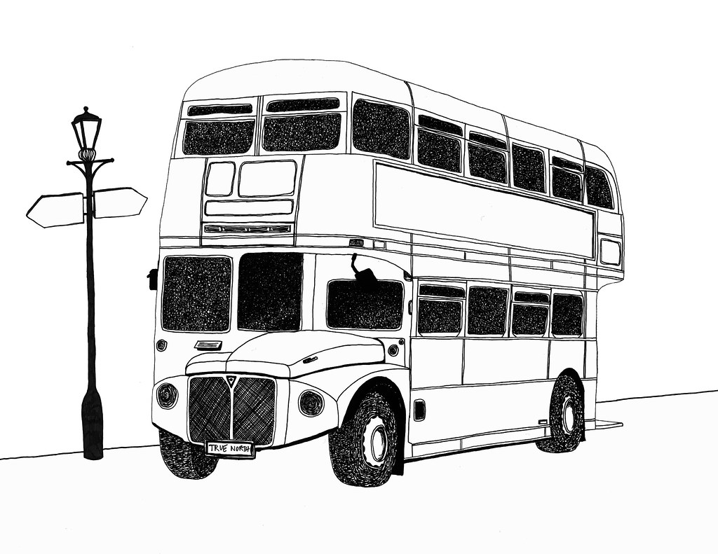 London Bus Pen Drawing By Michael Levi Pentel 02 A4 Flickr