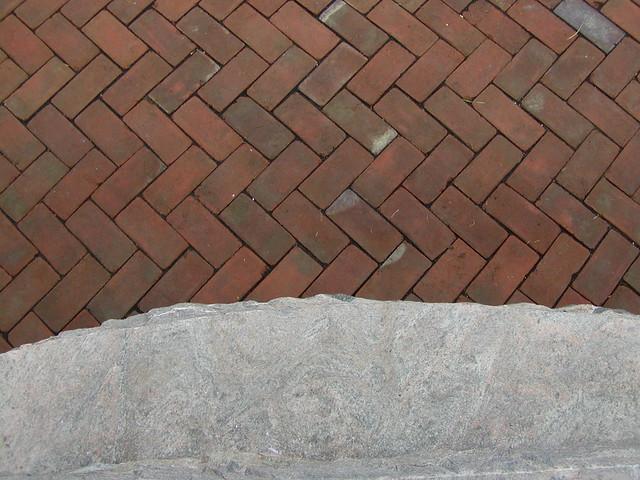 herringbone brick patio with granite step flickr photo