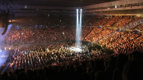 Spotlight on Michael Buble's second stage at Rod Laver arena.
