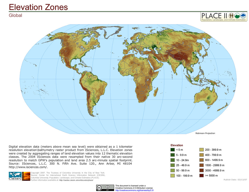 Global Elevation Zones Digital Elevation Data Meters Abo Flickr