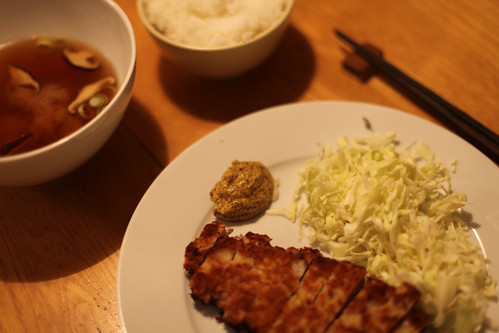 miso katsu with miso soup , shredded cabbage and rice