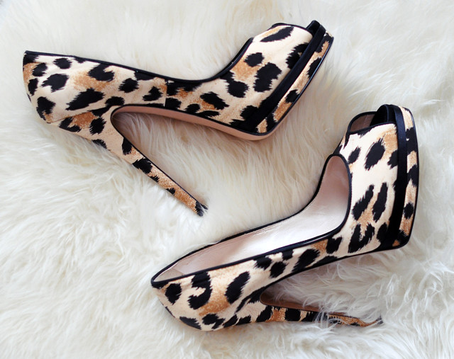 leopard print shoes on sheepskin