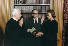 Photograph of Sandra Day O'Connor Being Sworn in a Supreme Court Justice by Chief Justice Warren Burger...
