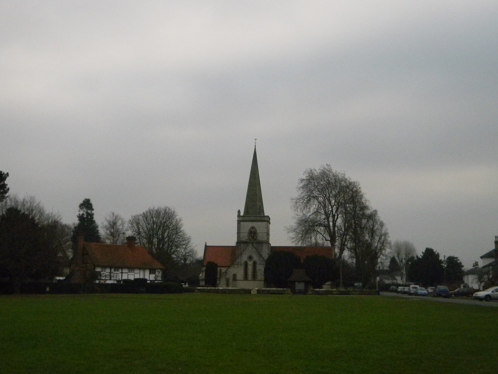 Village green & church, Brockham Dorking to Reigate