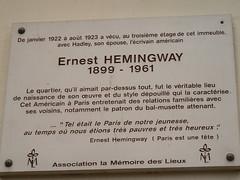 Photo of Ernest Hemingway white plaque