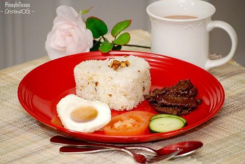 Tapsilog (Tapa, SInangag at Itlog/Cured-Beef strips, Fried Rice & Egg)