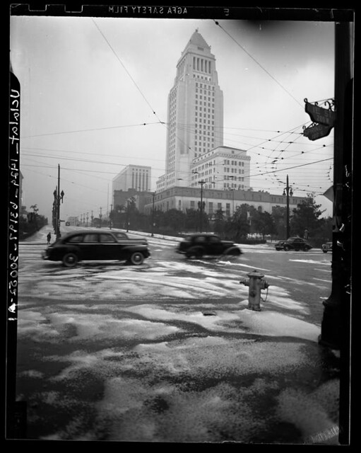 Snow in downtown Los Angeles, 1949