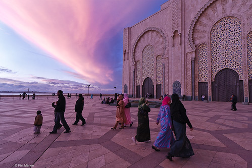 Allah-u-Akbar - beautiful sunset at Hassan II mosque in Casablanca, Morocco